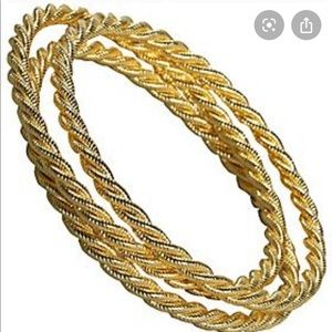 KEP designs set of 3 gold braided bangle bracelets